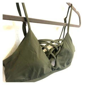 L Space Strappy Bikini Top Army Green